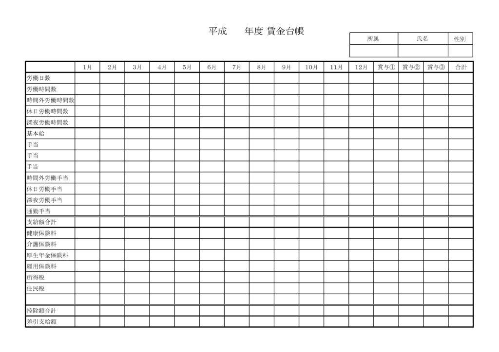 賃金台帳の様式、ひな形