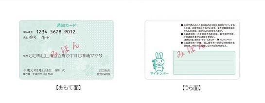 マイナンバー通知カードの見本